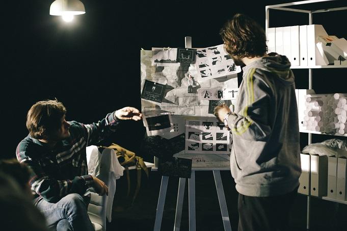 Režisori; no kreisās Ernests Cerbulis un Edvards Lansmanis. Fotogrāfs Alberts Viegliņš