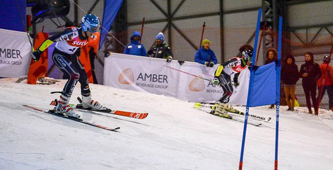 Miks Zvejnieks (LAT) vs. Elvis Opmanis (LAT) in Baltic Cup 2017 parallel slalom 1/8 final